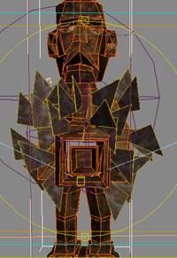 La statuette a été modélisé en low polygon par extrusion de poly puis complexifié lors du rendu.